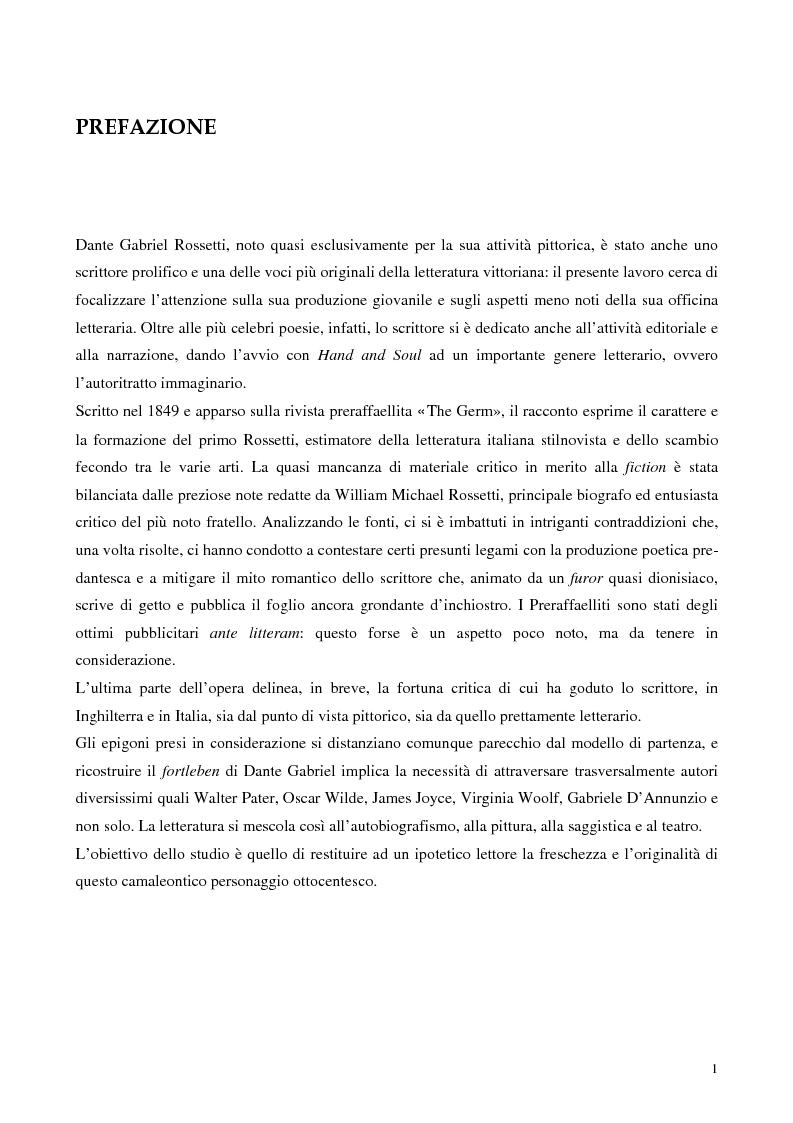 """Anteprima della tesi: Metafore ed icone stilnoviste in """"Hand and Soul"""" di Dante Gabriel Rossetti, Pagina 1"""
