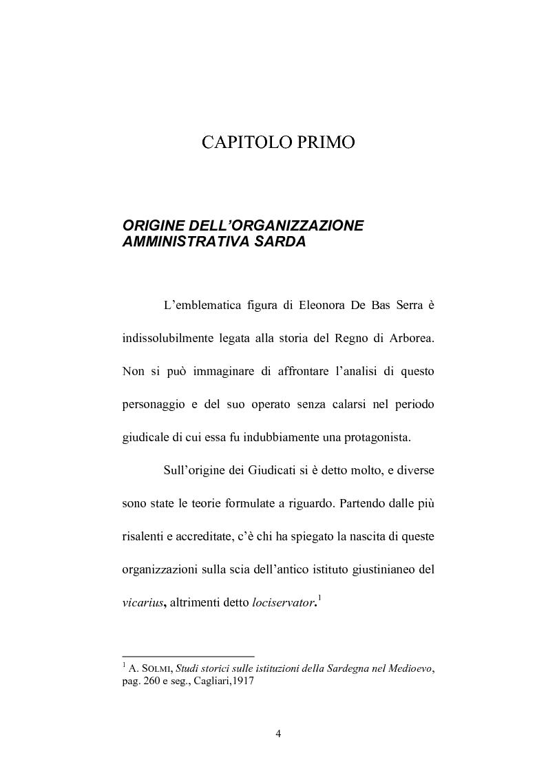 Anteprima della tesi: Istituzioni e amministrazione della giustizia nel Giudicato di Eleonora di Arborea secondo la Carta de Logu, Pagina 1