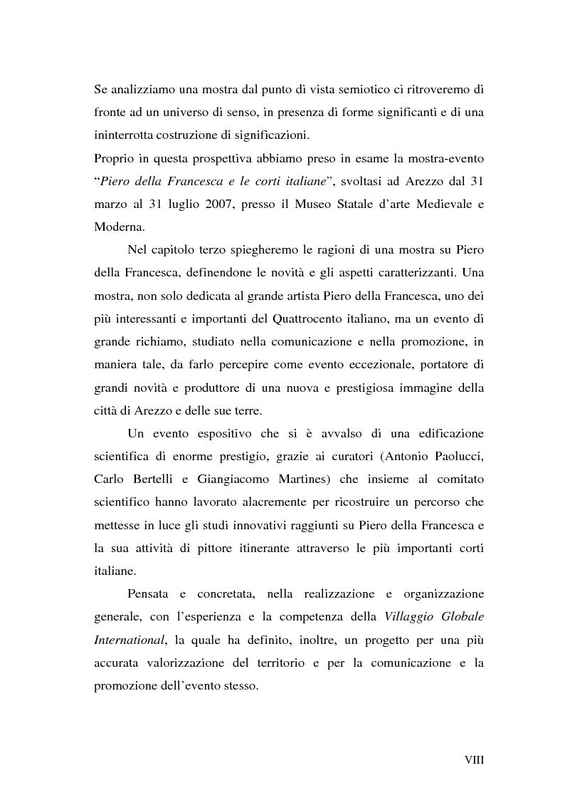 """Anteprima della tesi: Comunicare una mostra: """"Piero della Francesca e le corti italiane"""" Arezzo 22 Marzo - 31 luglio 2007, Pagina 6"""