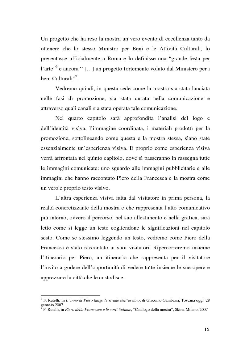 """Anteprima della tesi: Comunicare una mostra: """"Piero della Francesca e le corti italiane"""" Arezzo 22 Marzo - 31 luglio 2007, Pagina 7"""