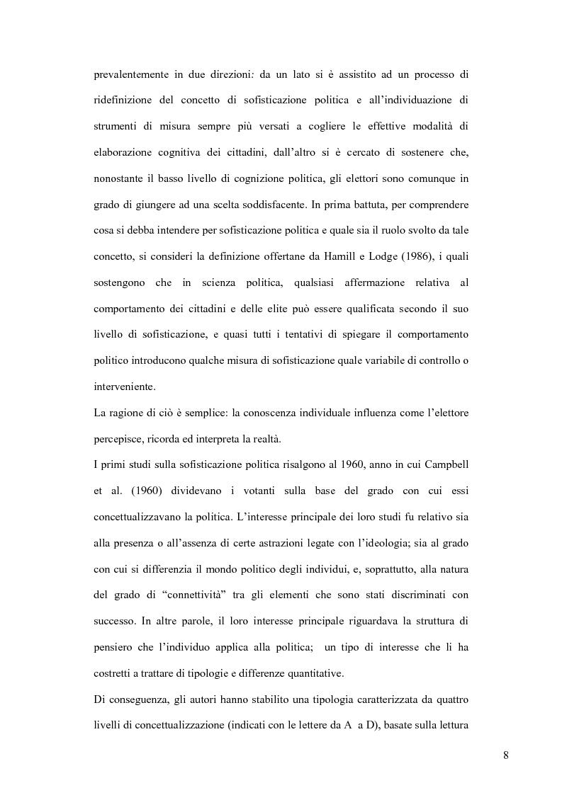Anteprima della tesi: La sofisticazione politica: un contributo empirico, Pagina 5