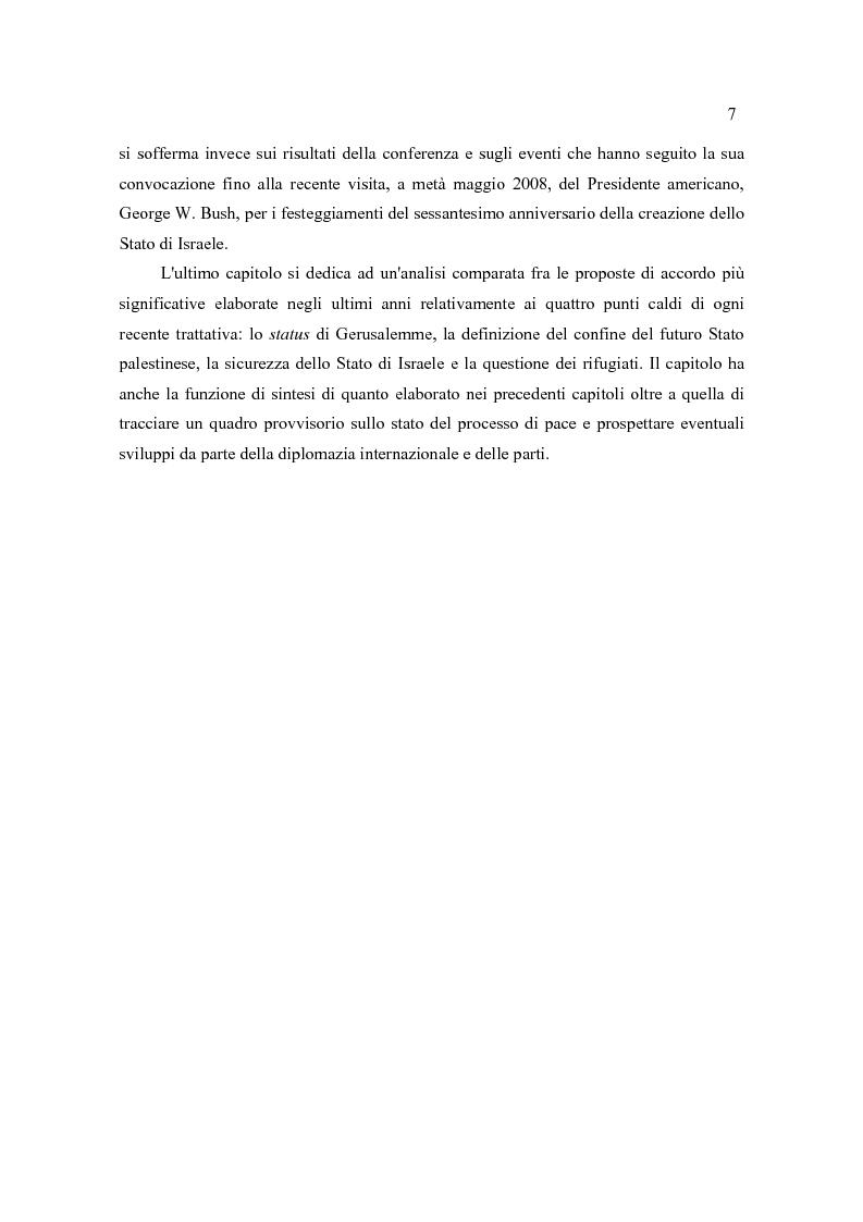 Anteprima della tesi: Il Quartetto, la Road Map ed i Seguiti di Annapolis. Il secondo ciclo del processo di pace tra israeliani e palestinesi., Pagina 7