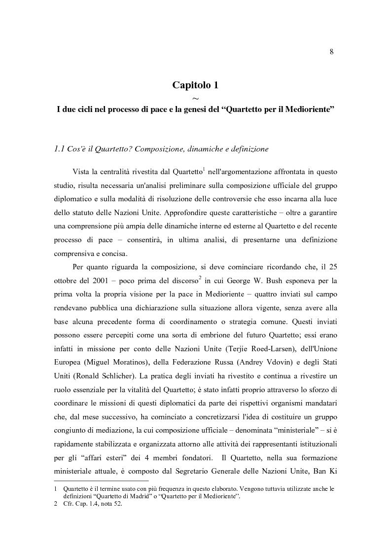 Anteprima della tesi: Il Quartetto, la Road Map ed i Seguiti di Annapolis. Il secondo ciclo del processo di pace tra israeliani e palestinesi., Pagina 8