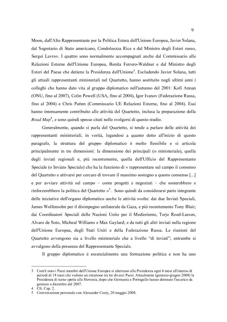 Anteprima della tesi: Il Quartetto, la Road Map ed i Seguiti di Annapolis. Il secondo ciclo del processo di pace tra israeliani e palestinesi., Pagina 9