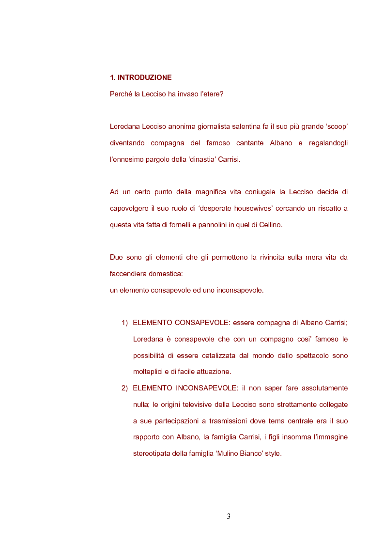 Anteprima della tesi: La televisione spazzatura... il fenomeno Lecciso: ai confini tra 'pecoreccio' e divismo, Pagina 1