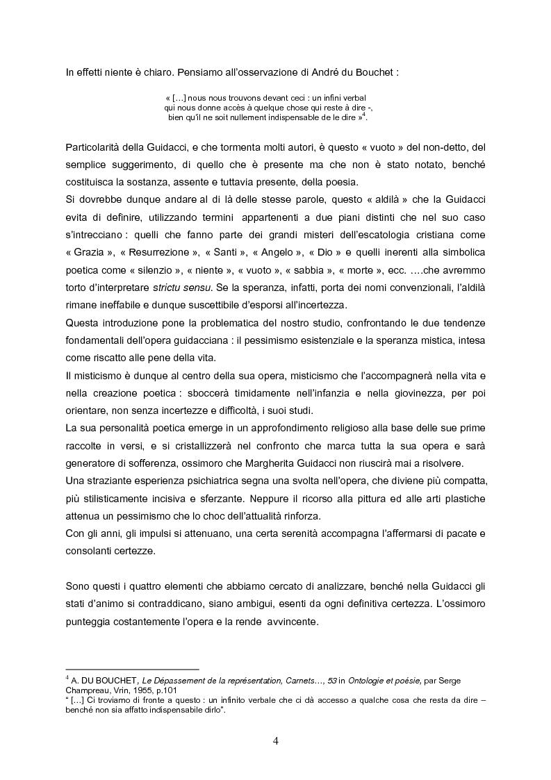 Anteprima della tesi: Speranza mistica e pessimismo esistenziale nell'opera di Margherita Guidacci, Pagina 3