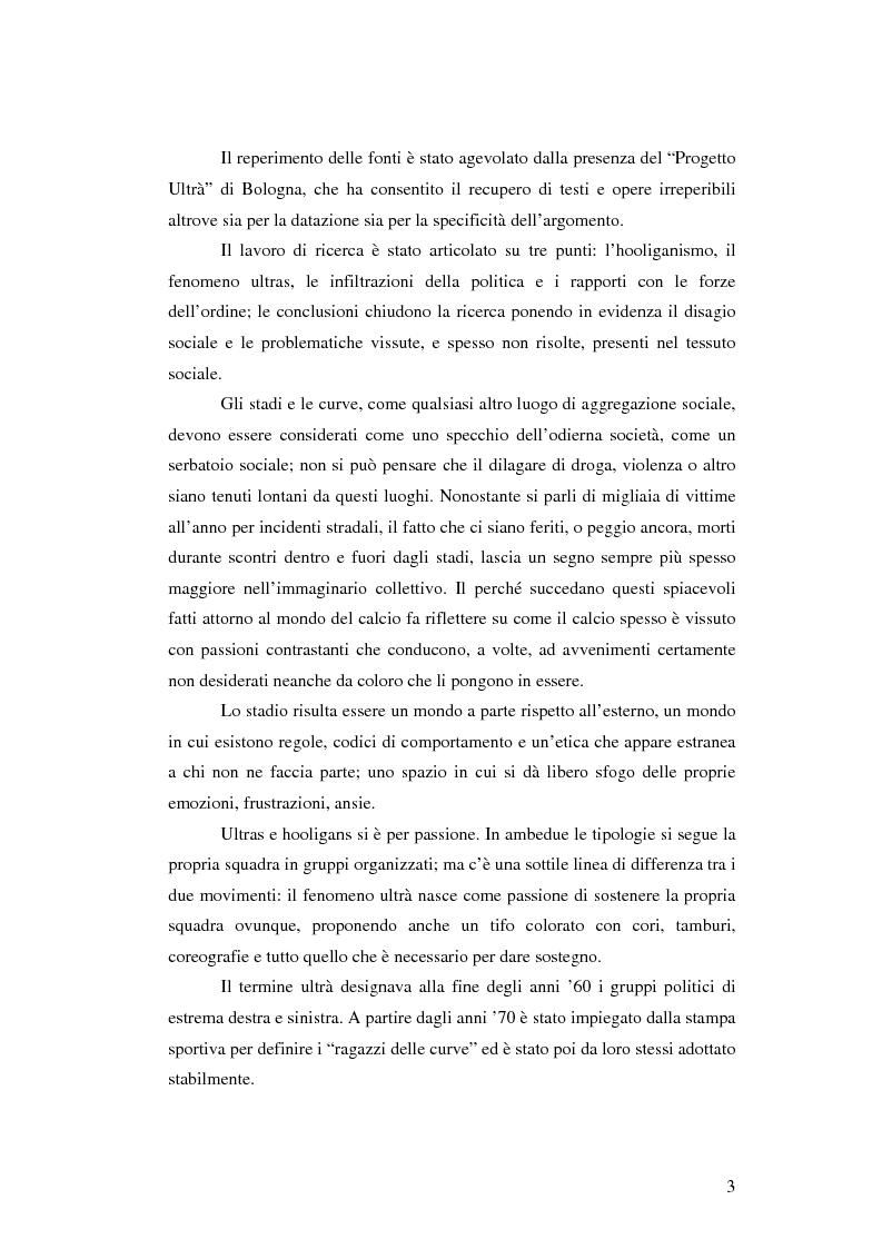 Anteprima della tesi: Il fenomeno Hooligans in Inghilterra e il fenomeno Ultras in Italia, Pagina 2
