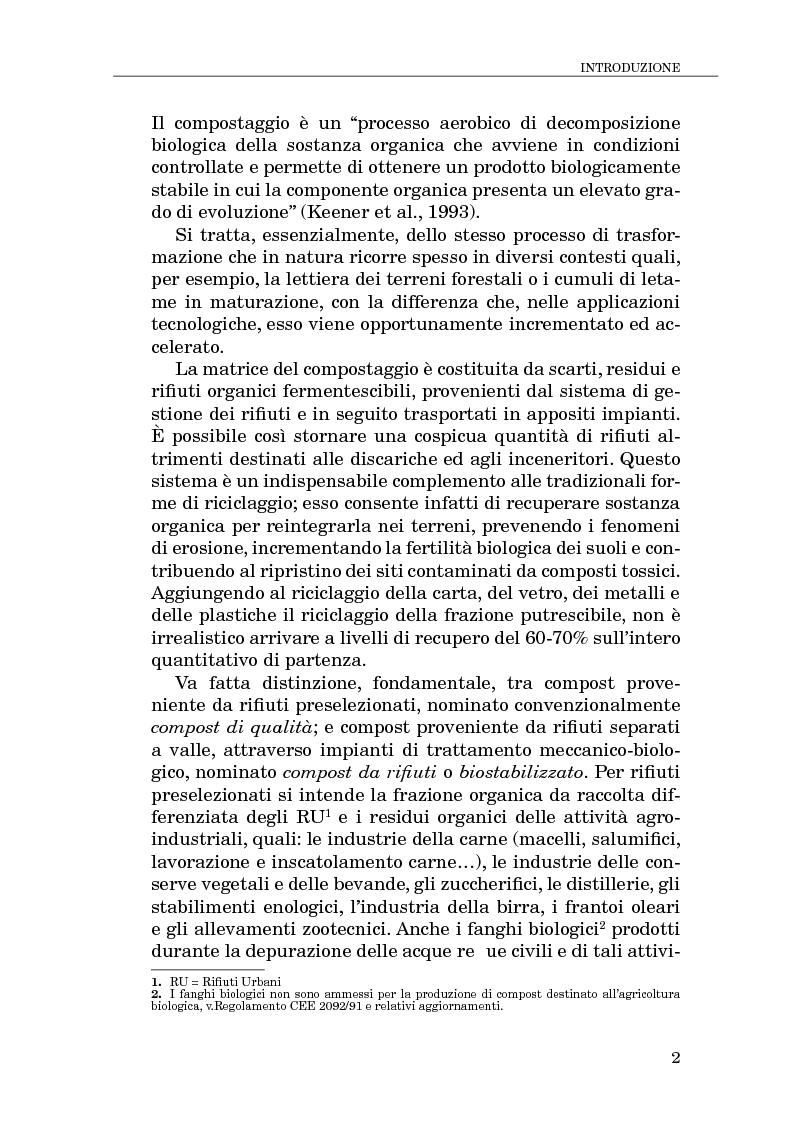 Anteprima della tesi: Il compostaggio, fase essenziale nel recupero agricolo dei rifiuti solidi, Pagina 2
