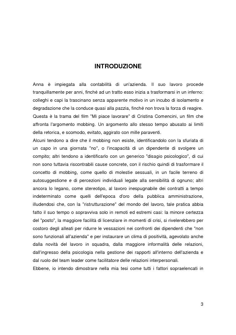 Anteprima della tesi: Il mobbing nell'era del precariato - Le cause di una pratica apparentemente improduttiva e i suoi collegamenti con il nuovo mondo del lavoro, Pagina 1