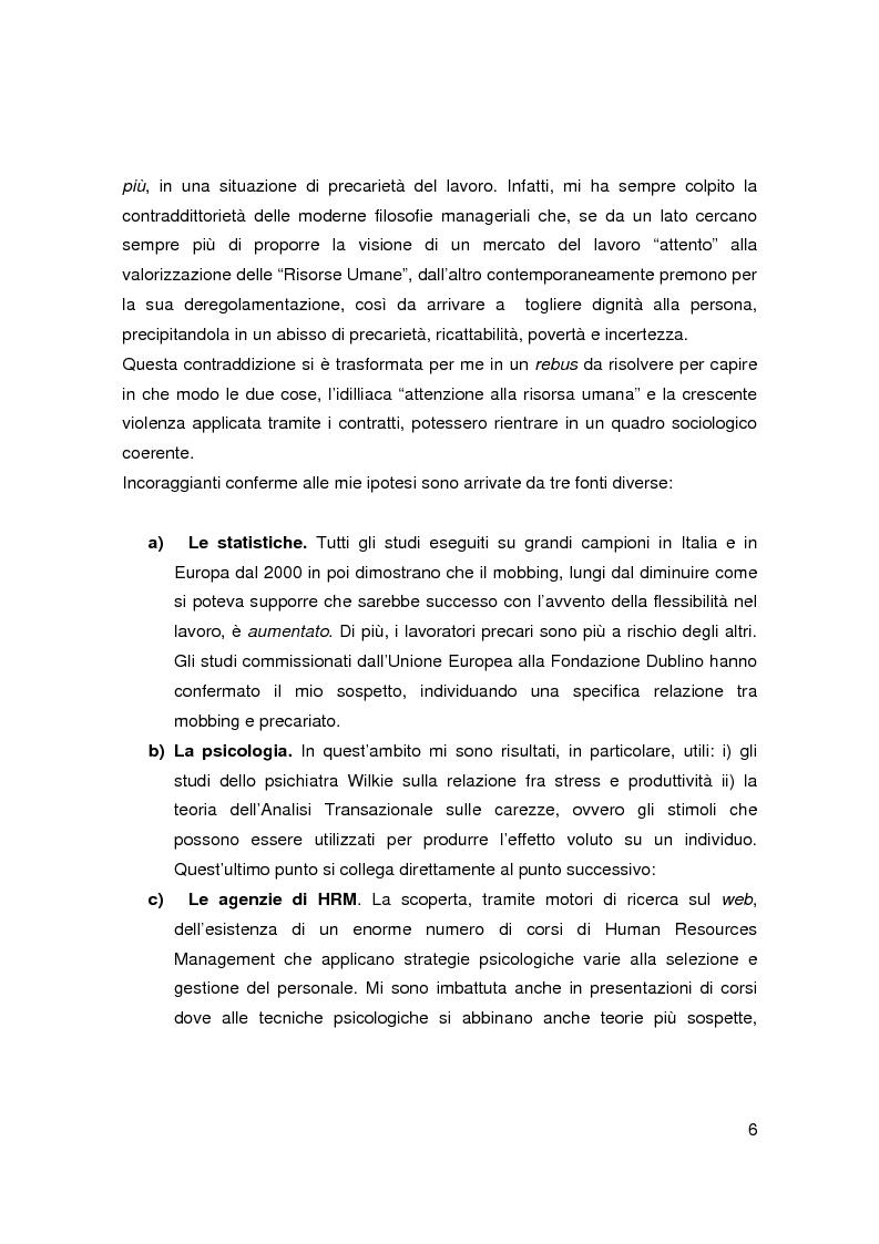 Anteprima della tesi: Il mobbing nell'era del precariato - Le cause di una pratica apparentemente improduttiva e i suoi collegamenti con il nuovo mondo del lavoro, Pagina 4