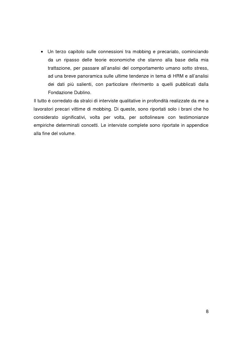 Anteprima della tesi: Il mobbing nell'era del precariato - Le cause di una pratica apparentemente improduttiva e i suoi collegamenti con il nuovo mondo del lavoro, Pagina 6