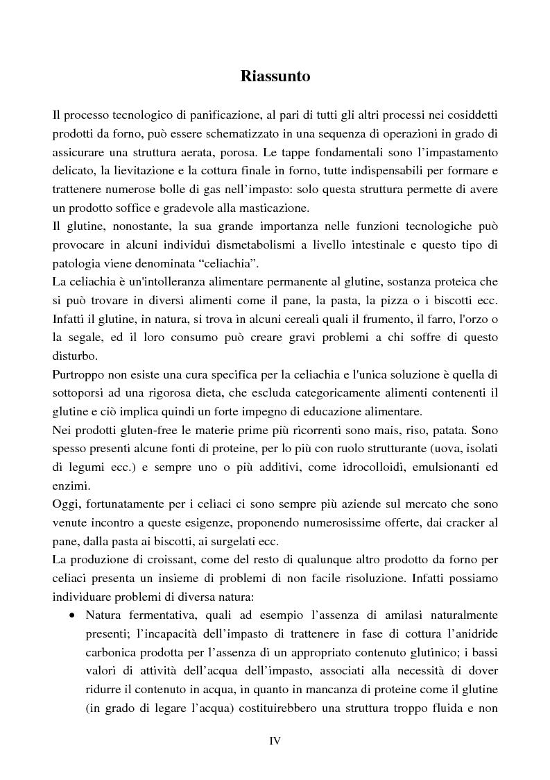 Anteprima della tesi: Ottimizzazione delle proprietà funzionali ed organolettiche di prodotti da forno per celiaci, Pagina 1