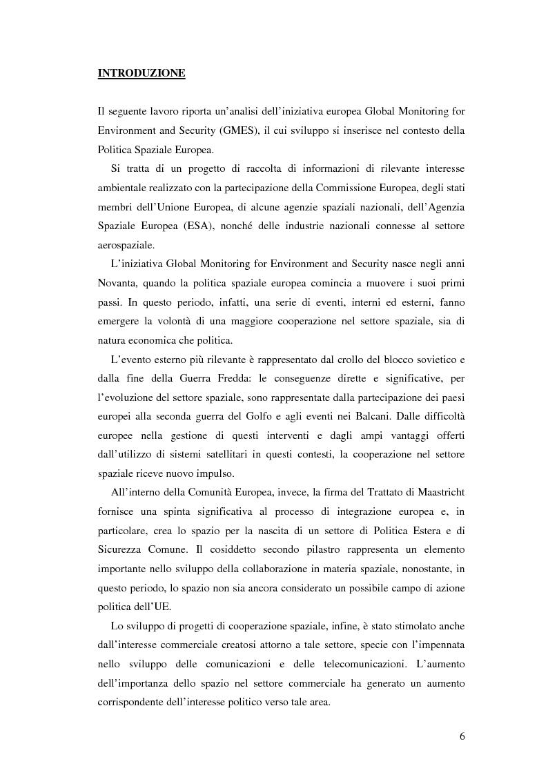 Anteprima della tesi: L'iniziativa Global Monitoring for Environment and Security (GMES), Pagina 1