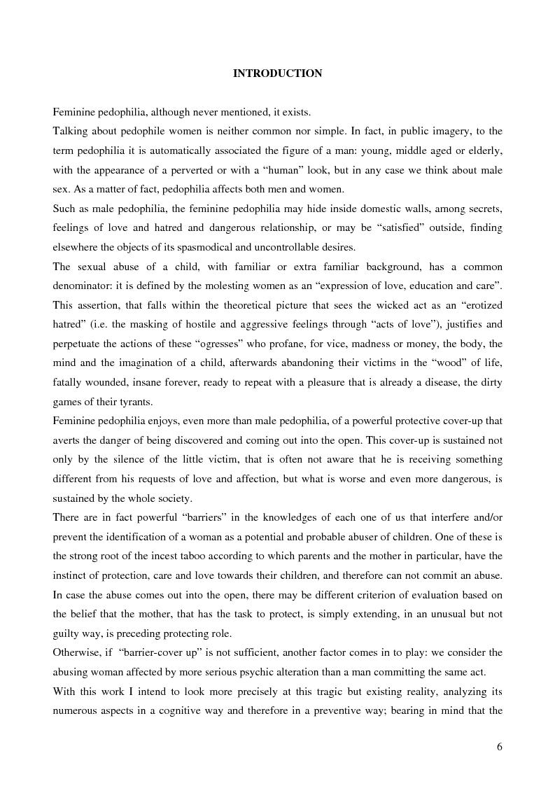 Anteprima della tesi: Feminine pedophilia, Pagina 1