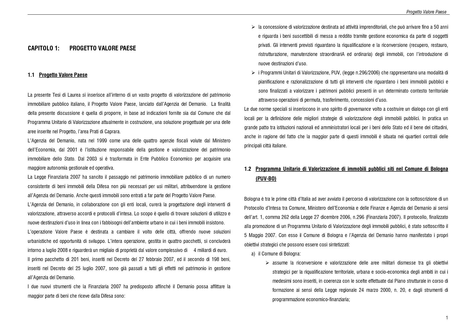Anteprima della tesi: Progetto del parco urbano Maggiore-Caprara, Pagina 1
