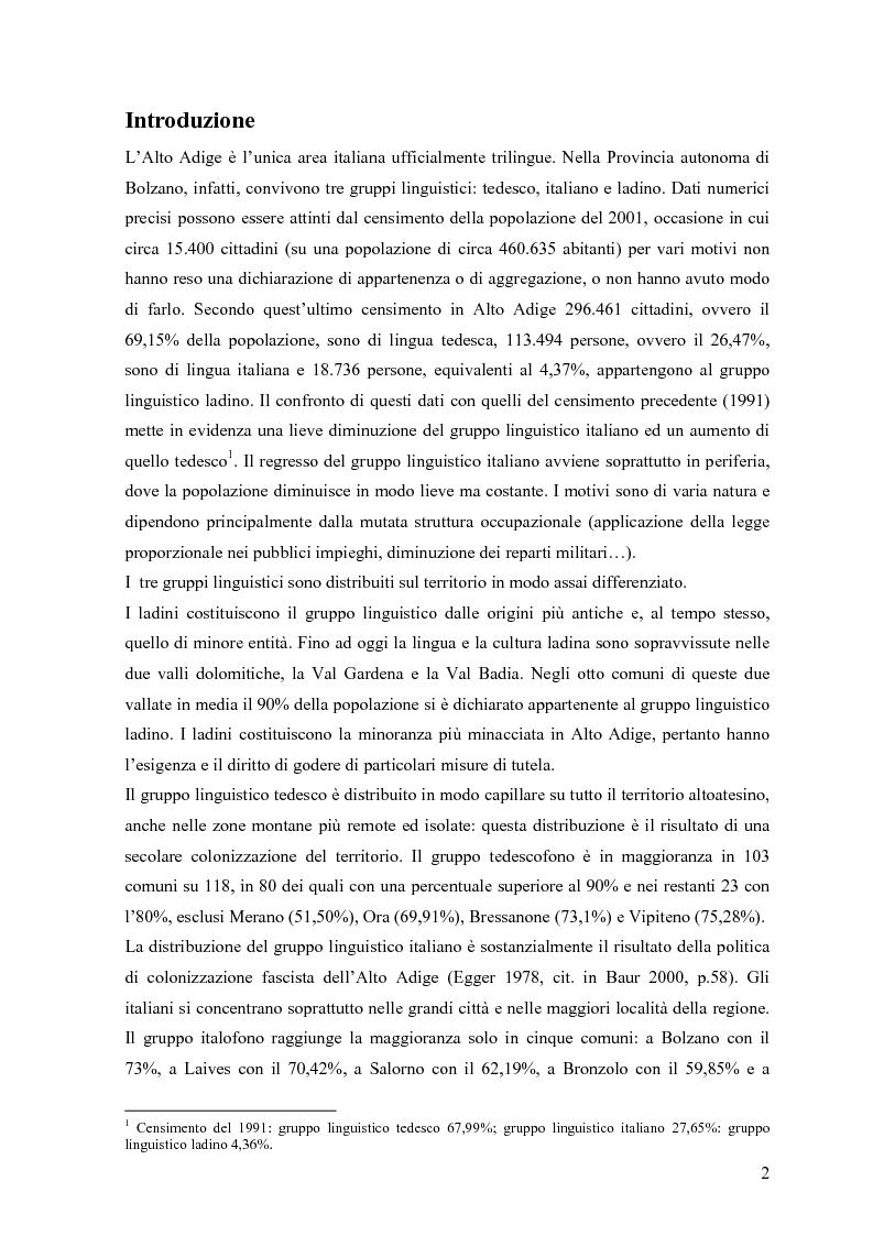 Anteprima della tesi: Lingua e identità. Il caso altoatesino., Pagina 1