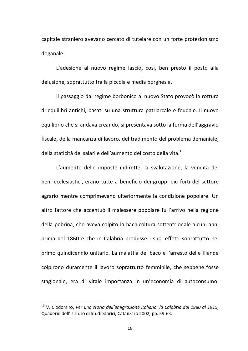 Anteprima della tesi: L'emigrazione calabrese (1880-1914): i problemi, i protagonisti, la stampa, Pagina 16