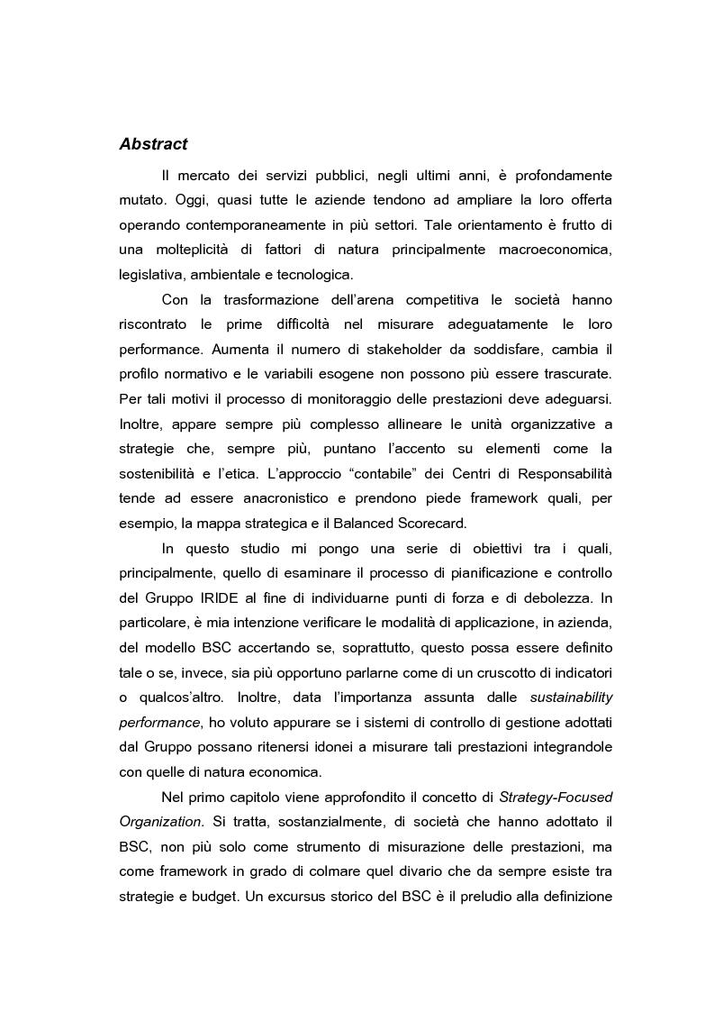 Anteprima della tesi: Pianificazione e controllo strategico nelle aziende multi-servizio: il caso Iride, Pagina 1