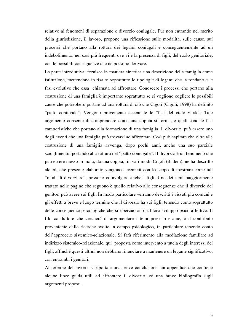 Anteprima della tesi: Figli di amori conclusi: come vivono l'esperienza del divorzio. Cosa cambia, cosa rimane, Pagina 2