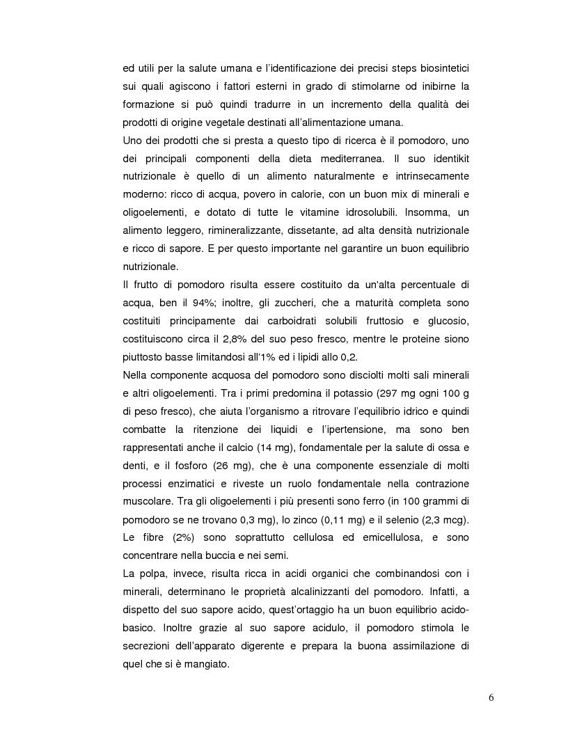 Anteprima della tesi: Pattern isoenzimatico e attività di perossidasi in frutti di pomodoro dela linea HP-1 maturati in presenza o assenza della radiazione UV-B, Pagina 5