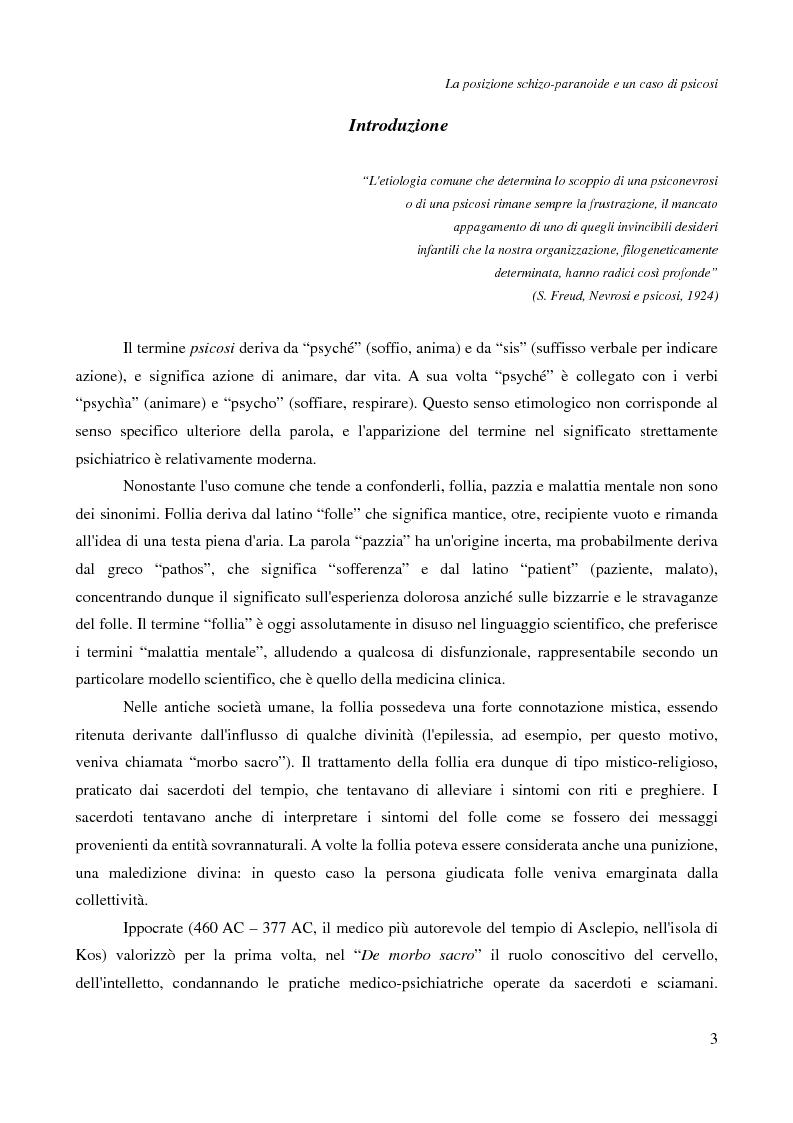 Anteprima della tesi: La posizione schizo-paranoide: un caso di psicosi, Pagina 1