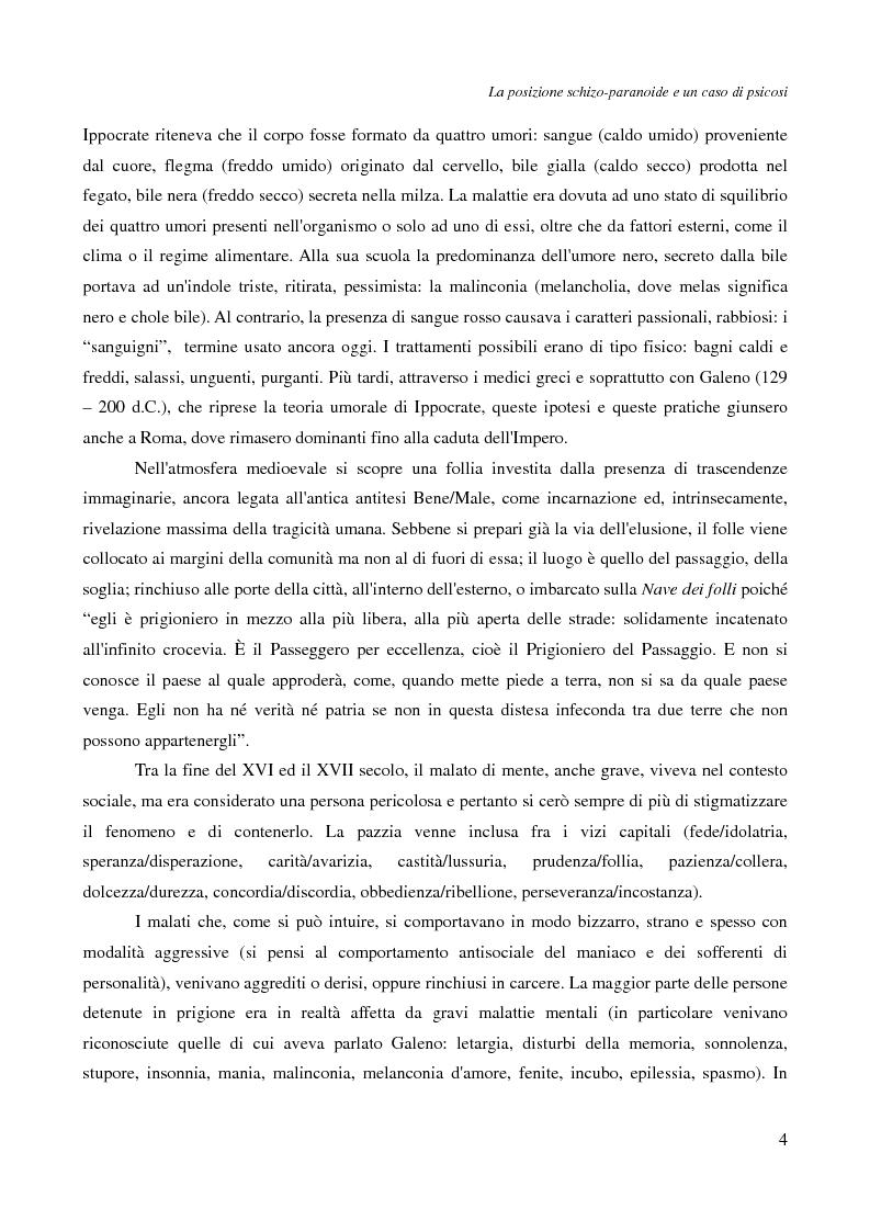 Anteprima della tesi: La posizione schizo-paranoide: un caso di psicosi, Pagina 2
