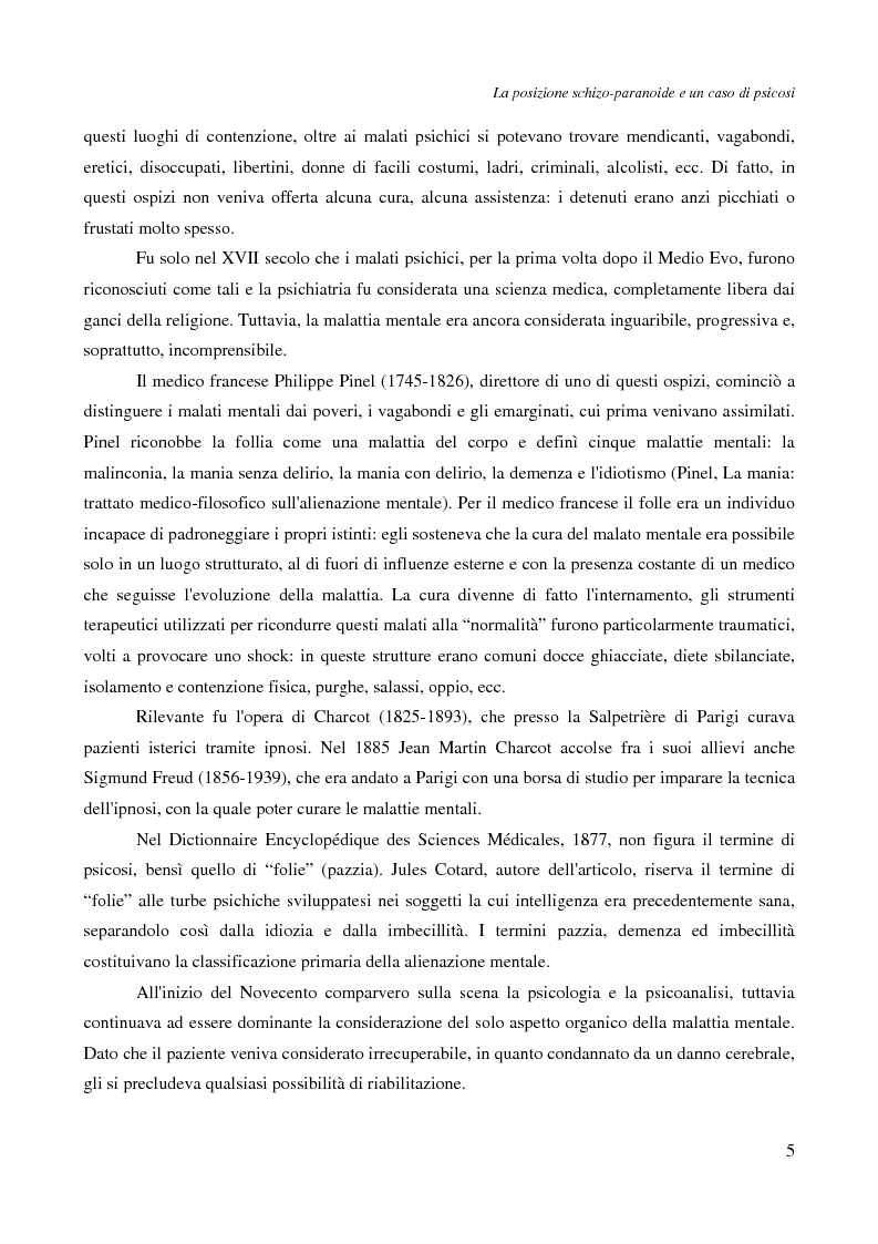 Anteprima della tesi: La posizione schizo-paranoide: un caso di psicosi, Pagina 3