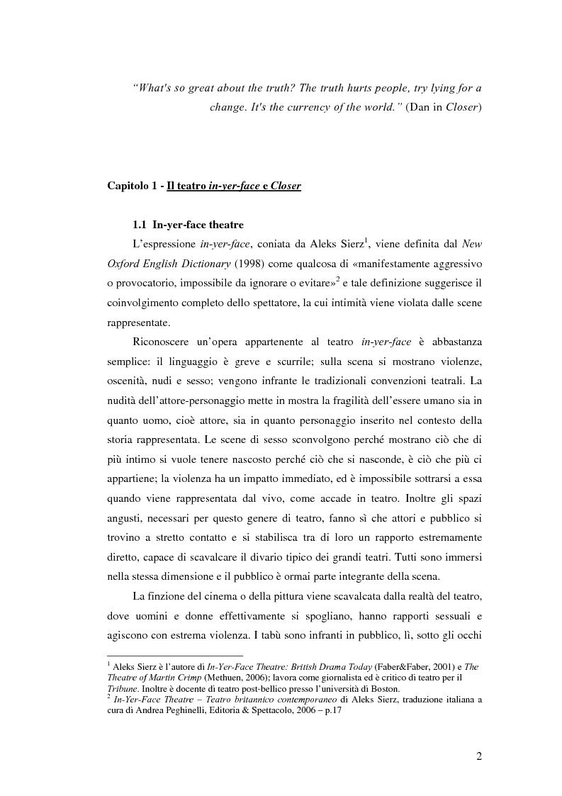 Anteprima della tesi: La società contemporanea inglese in Closer di Patrick Marber, Pagina 1