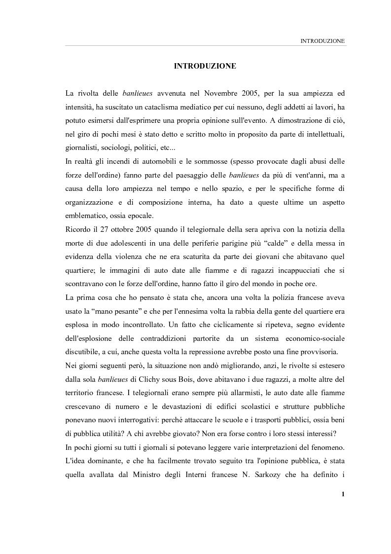 Anteprima della tesi: Banlieues: i luoghi dell'emarginazione, Pagina 1