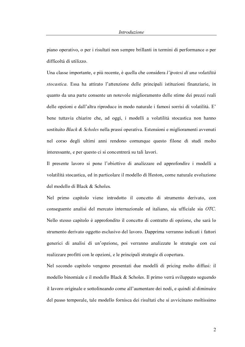 Anteprima della tesi: Il pricing delle opzioni: implicazioni operative del modello di Heston, Pagina 2