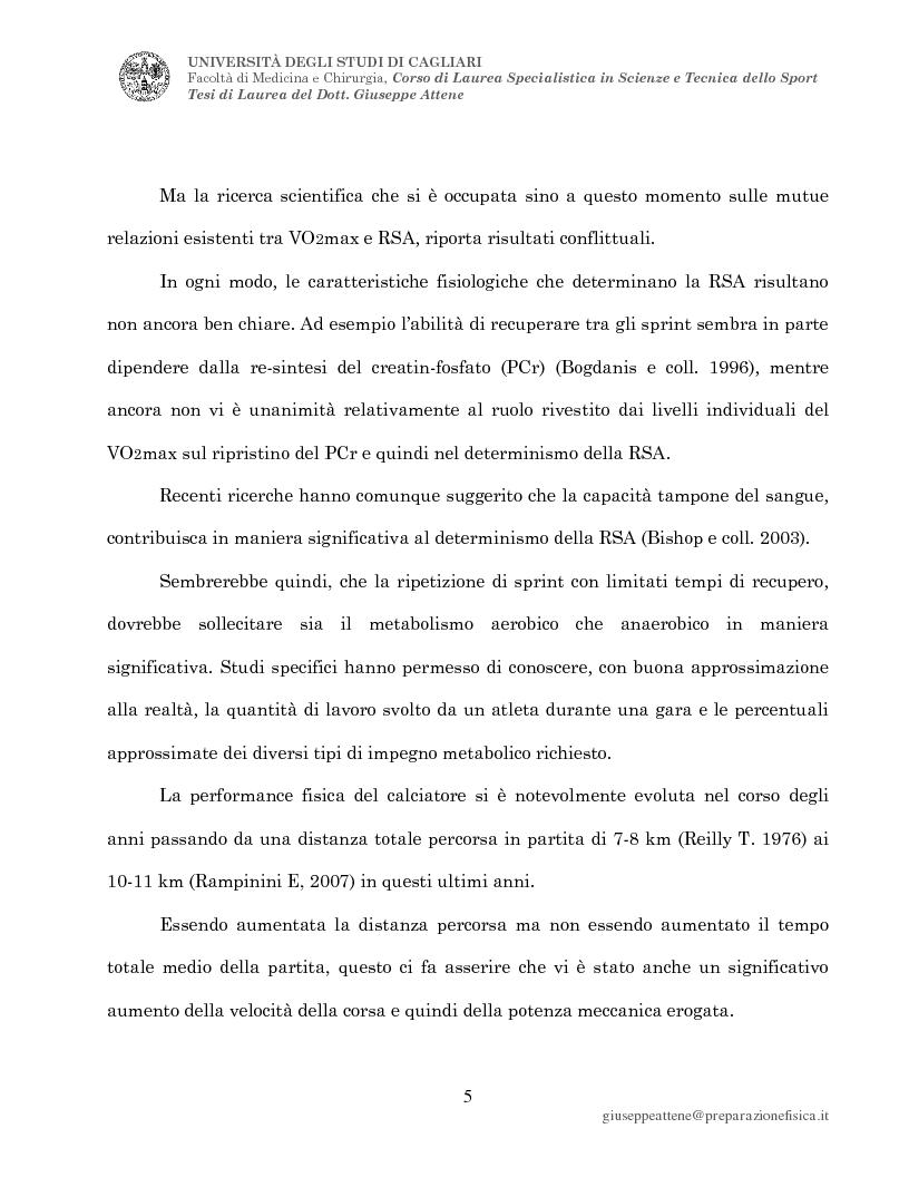 Anteprima della tesi: Studio sulle variabili metaboliche condizionanti la repeated sprint ability nei calciatori, Pagina 2