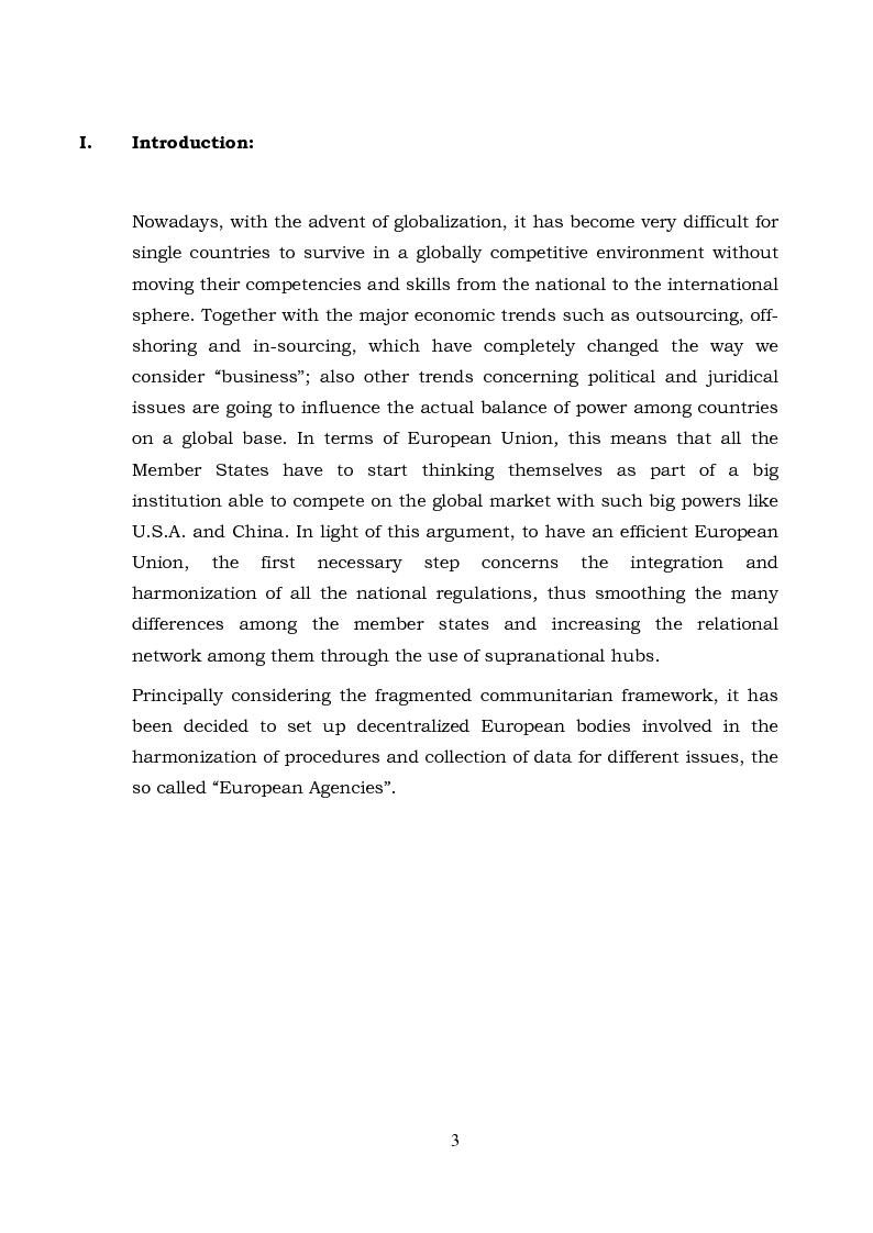 Anteprima della tesi: The European Agencies: An Analysis of Their Characteristics and Evolution in the Communitarian Framework, Pagina 1