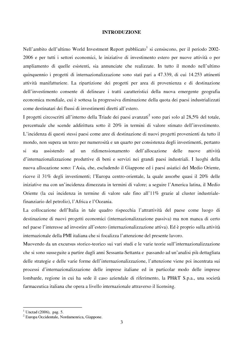 Anteprima della tesi: Le strategie di internazionalizzazione: il licensing in PH&T, Pagina 1