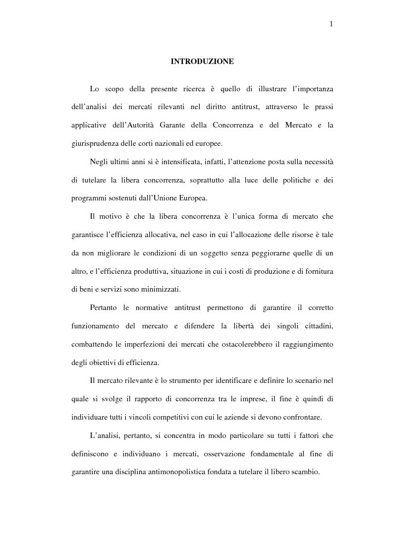Anteprima della tesi: I mercati rilevanti tra ricostruzione economica e sindacato giurisdizionale, Pagina 1