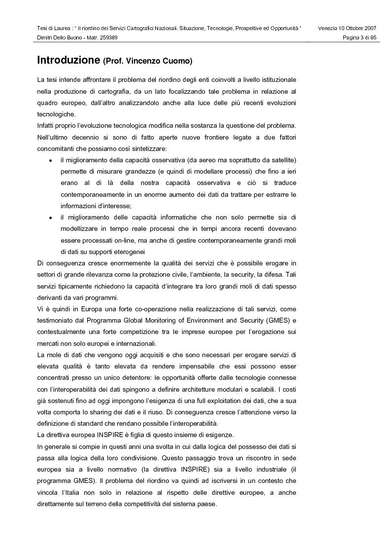 Anteprima della tesi: Il riordino dei Servizi Cartografici Nazionali. Situazione, tecnologie, prospettive ed opportunità., Pagina 1