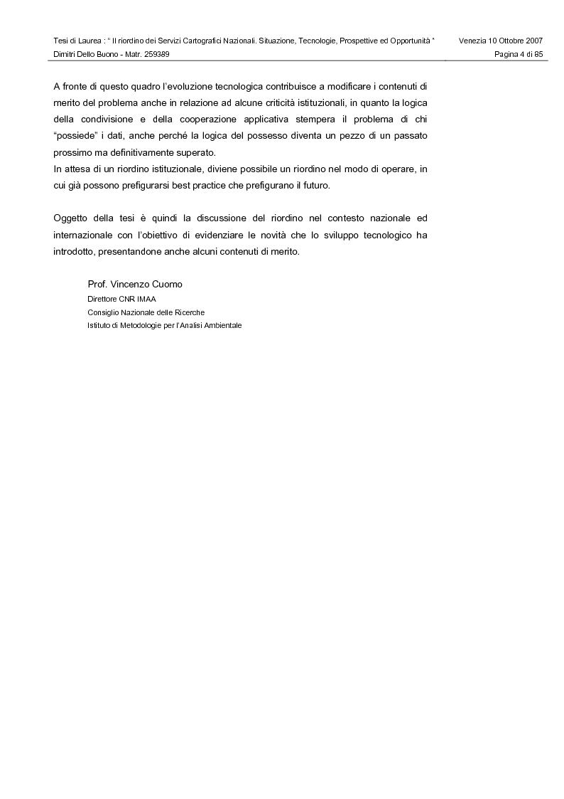 Anteprima della tesi: Il riordino dei Servizi Cartografici Nazionali. Situazione, tecnologie, prospettive ed opportunità., Pagina 2