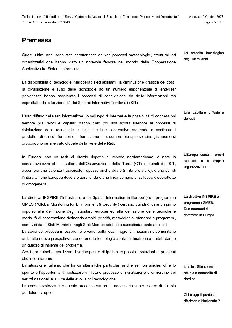 Anteprima della tesi: Il riordino dei Servizi Cartografici Nazionali. Situazione, tecnologie, prospettive ed opportunità., Pagina 3