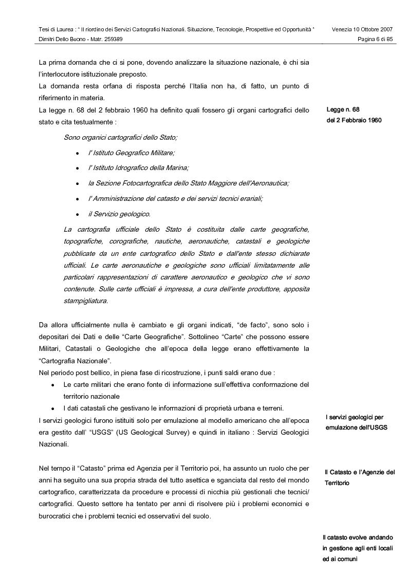 Anteprima della tesi: Il riordino dei Servizi Cartografici Nazionali. Situazione, tecnologie, prospettive ed opportunità., Pagina 4