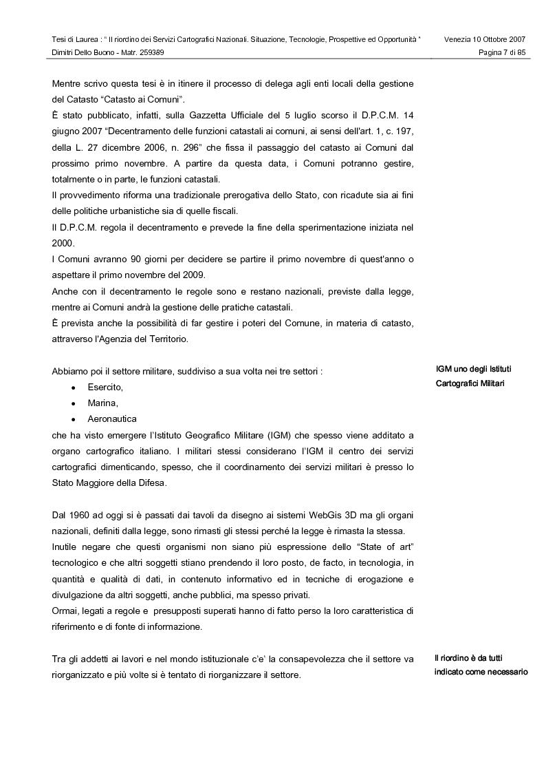 Anteprima della tesi: Il riordino dei Servizi Cartografici Nazionali. Situazione, tecnologie, prospettive ed opportunità., Pagina 5