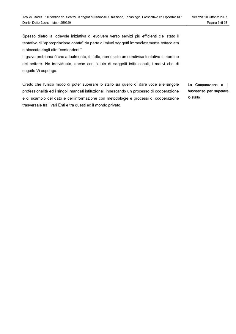 Anteprima della tesi: Il riordino dei Servizi Cartografici Nazionali. Situazione, tecnologie, prospettive ed opportunità., Pagina 6