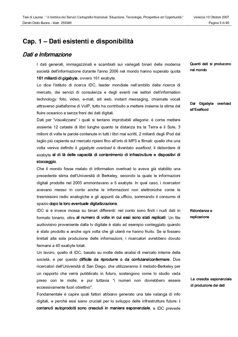 Anteprima della tesi: Il riordino dei Servizi Cartografici Nazionali. Situazione, tecnologie, prospettive ed opportunità., Pagina 7