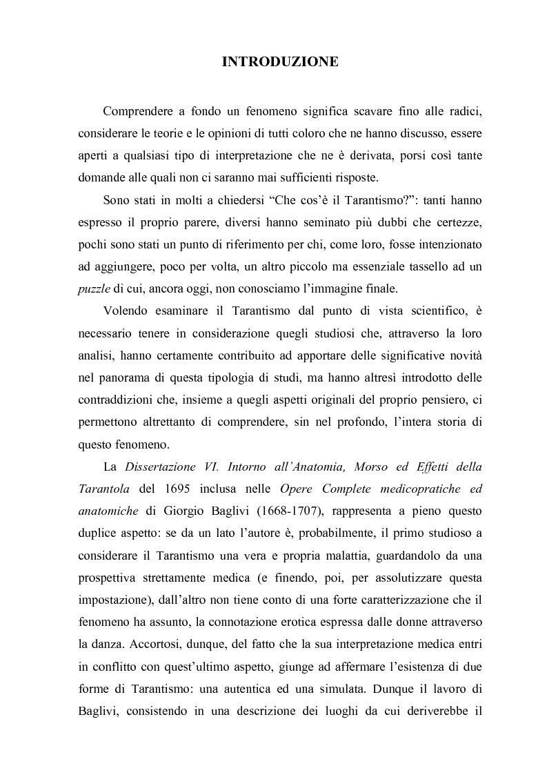 Anteprima della tesi: Il morso della Taranta. Approcci riduzionistici al Tarantismo in Giorgio Baglivi e Ignazio Carrieri., Pagina 1
