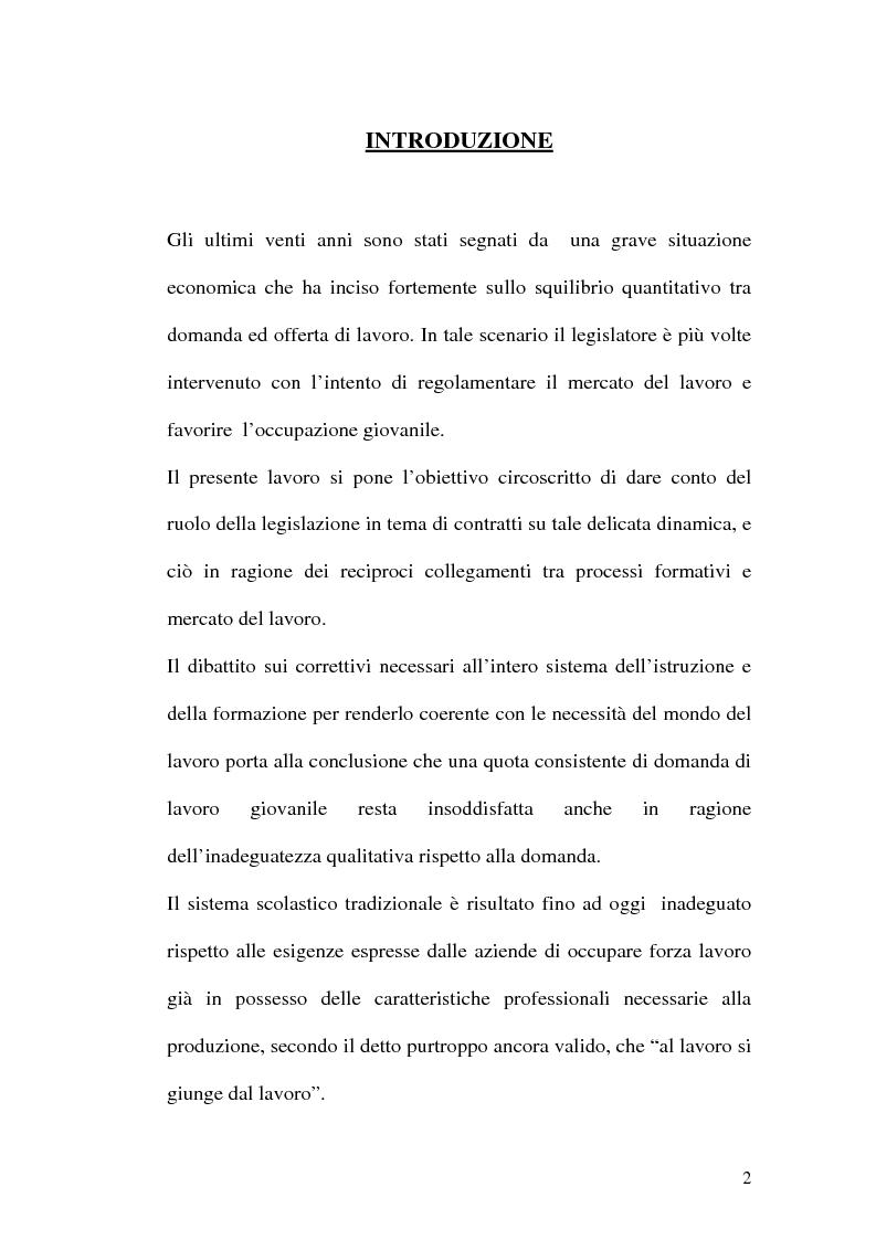 Anteprima della tesi: Contratti formativi e mercato del lavoro, Pagina 1