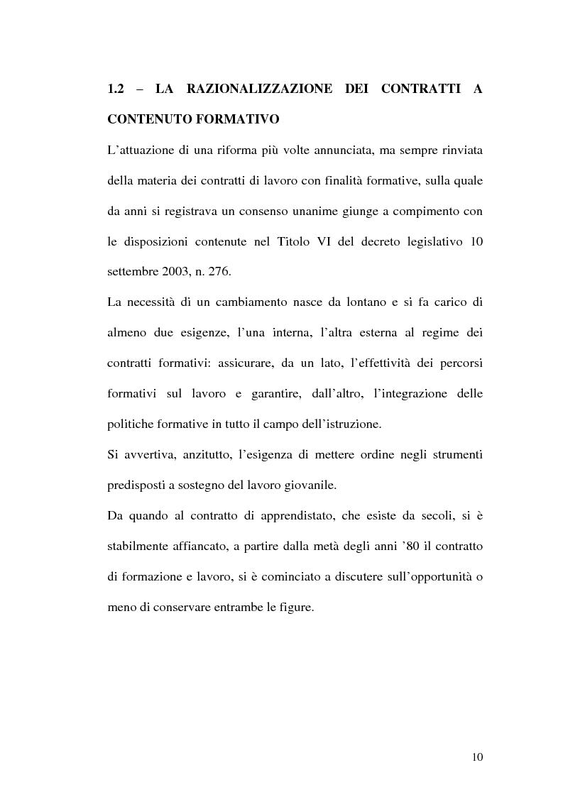 Anteprima della tesi: Contratti formativi e mercato del lavoro, Pagina 9