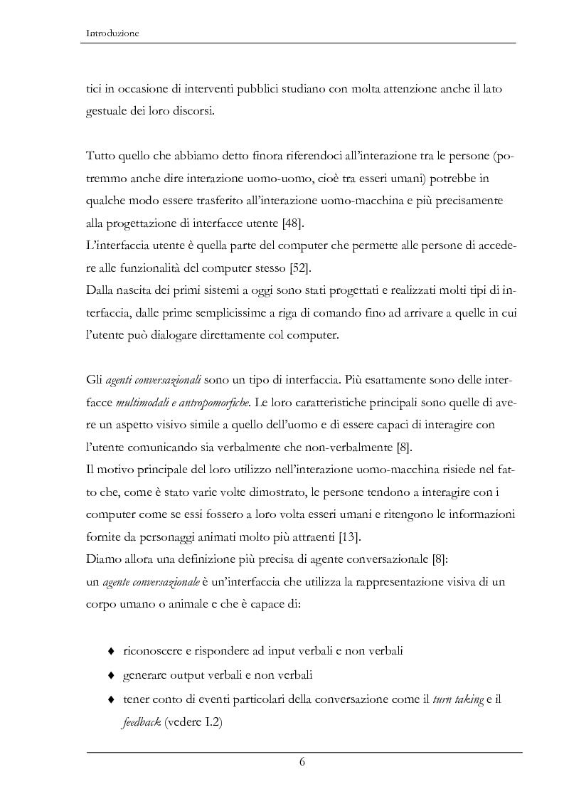 Anteprima della tesi: Analisi e sintesi dei gesti comunicativi per agenti conversazionali, Pagina 2