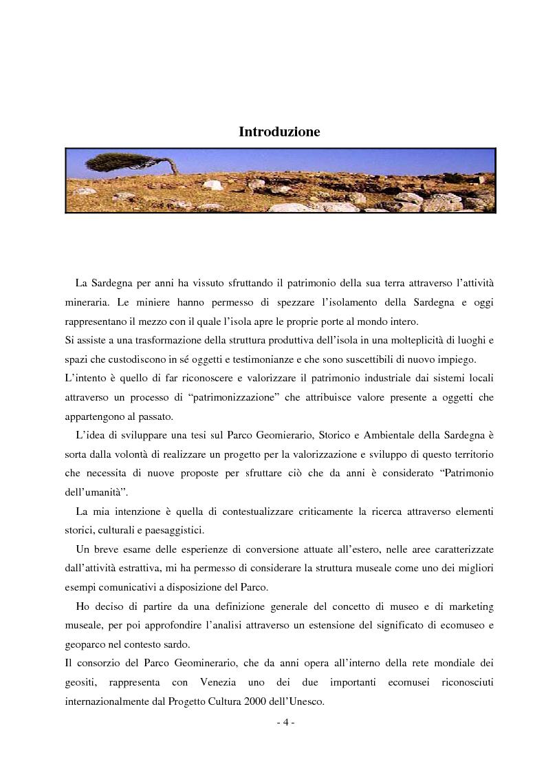 Anteprima della tesi: Comunicare un patrimonio: il Parco Geominerario Storico e Ambientale della Sardegna, Pagina 1
