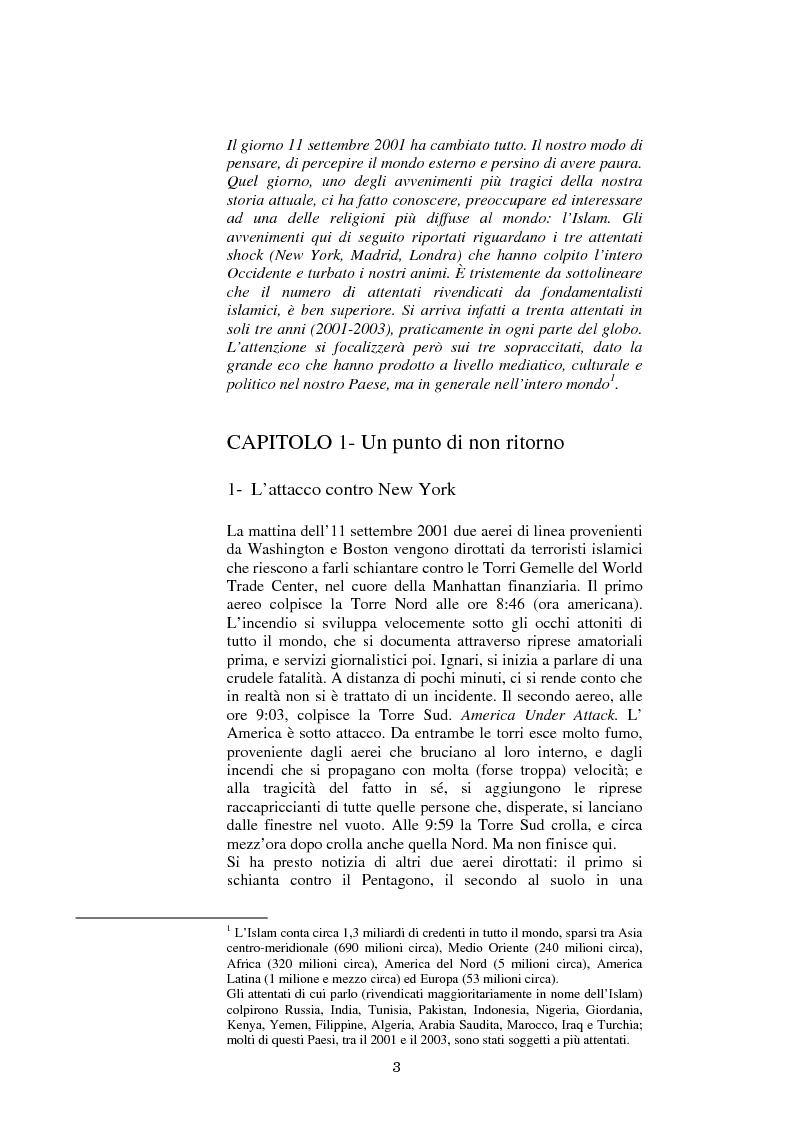 Anteprima della tesi: 11 settembre 2001 - La reazione dell'Islam in Occidente, Pagina 1