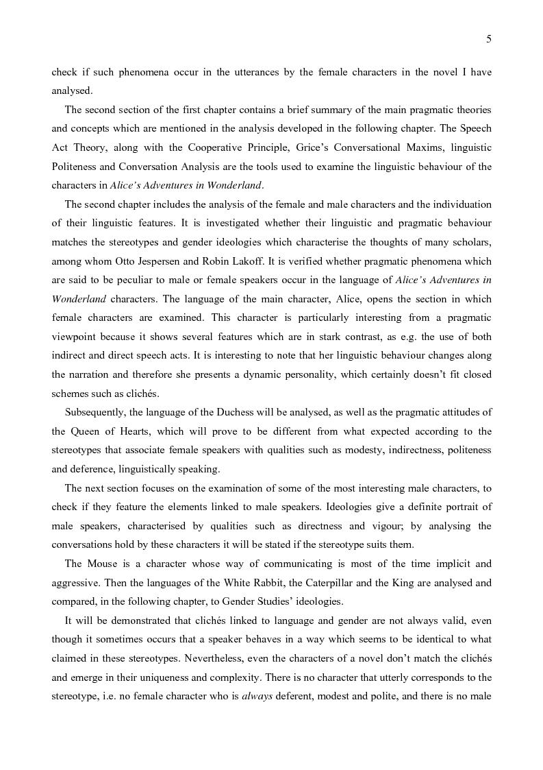 Anteprima della tesi: Lingua, genere e potere in Alice's Adventures in Wonderland, Pagina 2