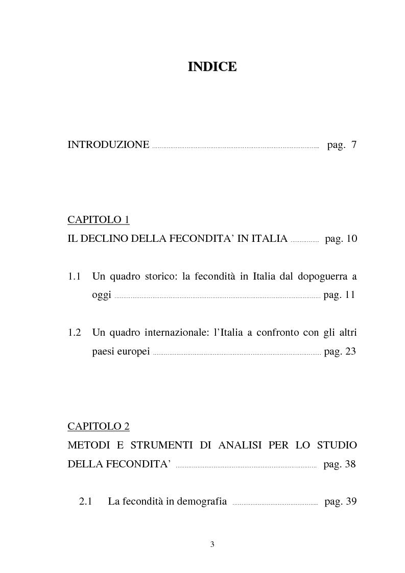 Indice della tesi: La fecondità in Italia: riflessioni teoriche ed evidenze empiriche in un confronto tra le province, Pagina 1