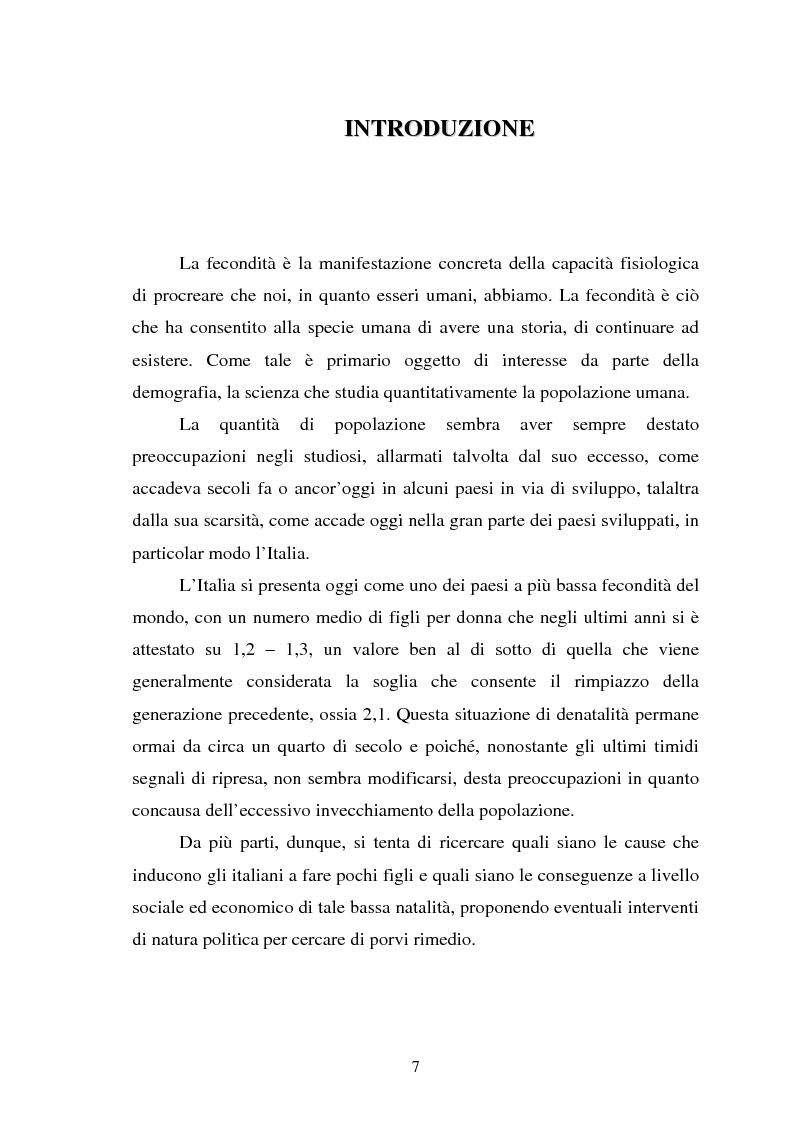 Anteprima della tesi: La fecondità in Italia: riflessioni teoriche ed evidenze empiriche in un confronto tra le province, Pagina 1